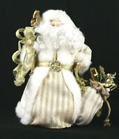 SANTA CLAUS Christmas Table Decoration Tree Topper Gold and White 12 Inches Tall