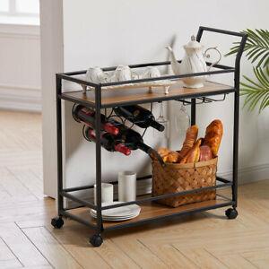 Metal Wine Rack Drinks Storage Trolley Shelves Kitchen Bar Alcohol Serving Cart