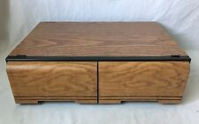Vintage Woodgrain 2 Drawer VHS Storage Cabinet Hold 18 VCR Video Tapes Faux Wood