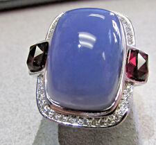 Large Unisex Blue Chalcedony, Diamonds and Rhodolite Garnet Ring 18k Wg size 9