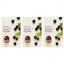 [innisfree]Real Facial Essence Mask Sheet Pack Black berry Moisture Skin CareX3P