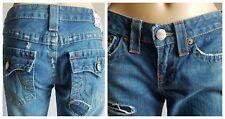 True Religion Womens 28x33.5 Bobby Patchwork Destroyed Distressed Jeans Sz 27