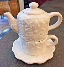 Pretty, Vintage 4 Pc Ceramic Floral Embossed Pottery Stacking Teapot Set for One