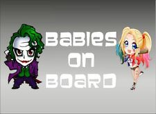 Joker And Harley Quinn Babies On Board Vinyl Vehicle Decal Kids Window Sticker