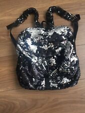 Ladies bag black hand bag/back pack Part soft leather Sequence Shiny Stylish