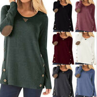 Womens Long Sleeve Tunic T Shirt Pullover Autumn Patch Sweatshirt Tops Blouse