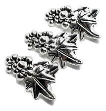 3 Sets Hook & Eye Leaf and Grape Bracelet Toggle Clasps Connectors Alloy Silver