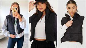 Womens Hooded Quilted Zip Up Gilet Waistcoat Padded Winter Vest Crop Bodywarmer