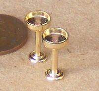 1:12 Scale Set Of 2 Brass Champagne Goblets Dolls House Miniature Pub Bar C