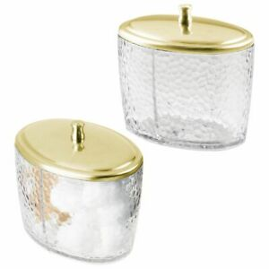 mDesign Bathroom Vanity Oval Canister Jar with Lid - 2 Pack - Clear/Soft Brass