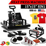 """15""""x15"""" 8 in 1 Heat Press Machine For T-Shirts Combo Kit Sublimation Swing Away"""