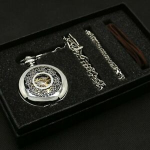 Antique Men Women Skeleton Hand-wind Mechanical Pocket Watch Necklace Pendant