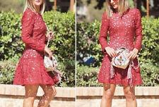 Zara size L embroidered lace Guipure Plum dress abito pizzo ricamo Peplum