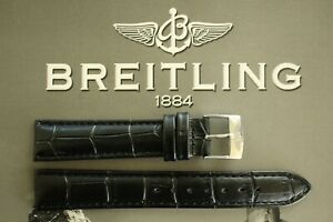 SILVER BUCKLE 18MM BLACK CROCO WATCH BAND WATCHBAND STRAP BRACELET FOR BREITLING