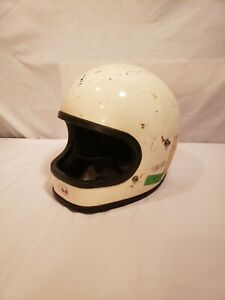 Vintage Electro (?) Off-Road White Helmet, Sticker-ed 1976, Personalized, Used