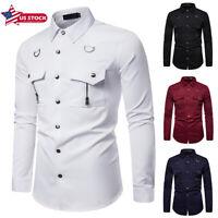 Men Slim Fit Business Shirt Short Sleeve Dress Shirts Casual Cotton T-Shirt Tops