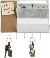 MyGift White Metal Mesh Mail Sorter Wall Rack with Corkboard and 5 Key Hooks