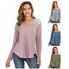 es-uk Women's Long Sleeve V Neck Jersey Jumper Sweater Relaxed Fit Top