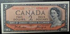 BANK OF CANADA 1954 - $2 DEVIL'S FACE Mis-Cut NOTE-Prefix E/B -HIGH GRADE-Rare