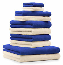 10-tlg. Handtuch Set Classic - Premium, Farbe: Royal-Blau & Beige, 2 Seiftücher