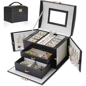 Large Jewellery Box Cabinet Necklace Ring Bracelet Storage Organizer Case