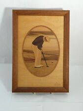 Hudson River Inlay Man Putter Marquetry Signed Nelson Wood Plaque / Wall Art