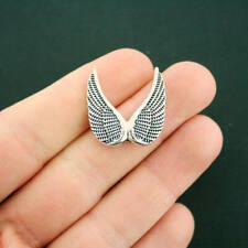 4 Angel Wings Spacer Beads Antique Silver Tone 2 Sided - SC6265