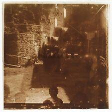 Égypte scène de rue Plaque de verre stéréo Positif Vintage 1908
