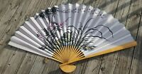 Vintage Large Hand Painted Bamboo Wall Fan Oriental Asian