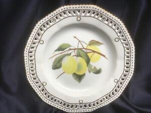 CHELSEA HOUSE porcelain DECORATIVE PLATE reticulated edge GOLD TRIM fruit lemons