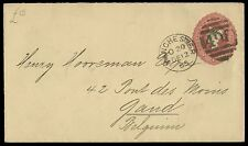 1885 Postal Stationery 2 1/2d. Claret envelope to Belgium. E1560
