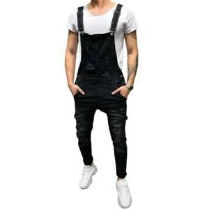 Mens Suspender Denim Jeans Dungarees Overalls Romper Jumpsuit Bib Pants Trousers