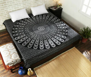 Mandala Tapestry Indian Peacock Design Wall Hanging Decor Bedspread Queen size