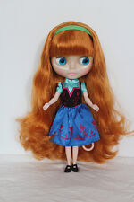 Blythe Doll from factory Nude Long ginger curly  hair SD187  + Transparent skin