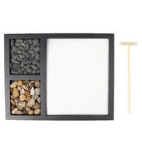 Japanese Style Zen Garden Sand Tray Natural Stones Wooden Rake Home Decor #2