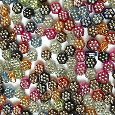 250 x MULTI COLOUR ACRYLIC RONDELLE FLOWER JEWELLERY MAKING BEADS 8mm / AB 0166