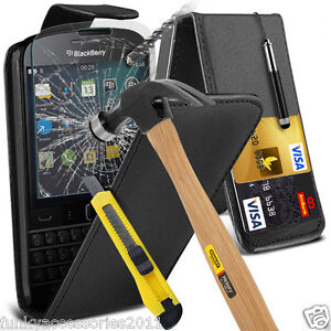 Top Flip Quality Leather Phone Case Cover✔Glass Screen Protector for Blackberry