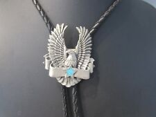 Southwest Eagle Star Turquoise Chip Inlay Pewter Bolo Tie-G&S 1995