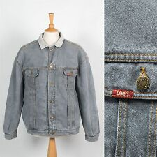 LEE MENS DENIM JACKET STORM RIDER VINTAGE GREY TRUCKER WORK BLANKER LINED XL