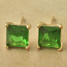 Pretty 9K Solid Yellow Gold Filled Emerald 7MM Square Classic Stud Post Earrings