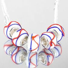 5 pcs silver murano glass european bead charm white, red & dark blue stripes