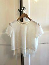 Miss Selfridge Open Back with Crochet Lace White Shirt