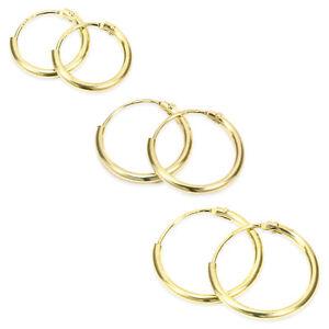 375er Gelbgold Creole EINZEL oder Paar Ohrringe Ohrstecker Dammer Herren 11-15mm