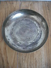 Early C20th Antique Chinese Brass Dish [plate/bowl/japanese/oriental/eastern]
