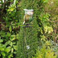 Rustic Owl Balancing Bird Perch Metal Animal Wind Spinner Garden Lawn Ornaments
