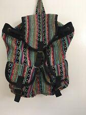 Forever 21 Drawstring Bag Flap Boho Hippie Backpack Festival Bookbag Black C2