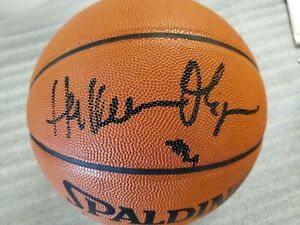 HAKEEM OLAJUWON AUTOGRAPHED BASKETBALL OFFICIAL GAME BALL SPALDING ROCKETS