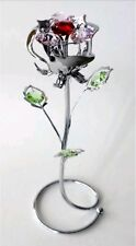 ROSE BUD ORNAMENTS GIFT SET CRYSTOCRAFT SWAROVSKI ELEMENTS PRESENT FLOWER