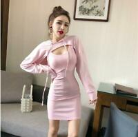Women Long Sleeve Hooded Bustier Two-piece Halter Neck Casual Sexy Short Dress