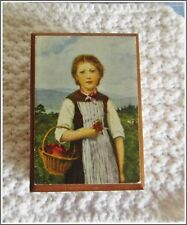 Lador Music Box Girl With 00006000  Flower Basket Swiss wind Somewhere My Love preowned